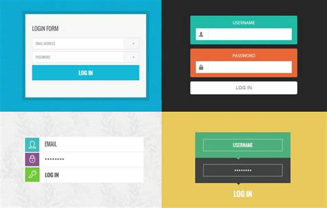 trendy login forms  flat design template  wlayouts