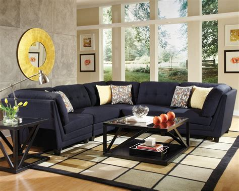 catnapper furniture coaster keaton 5 pc sectional living room set in midnight blue