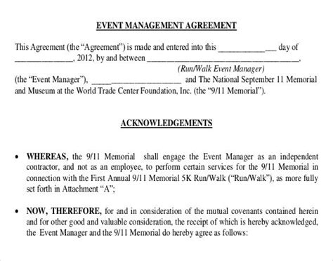 event contract templates event management event