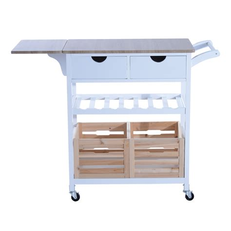 kitchen trolley cart drop leaf table folding dining modern