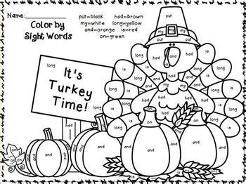 color  sight words  sight word sentence writing november edition thanksgiving