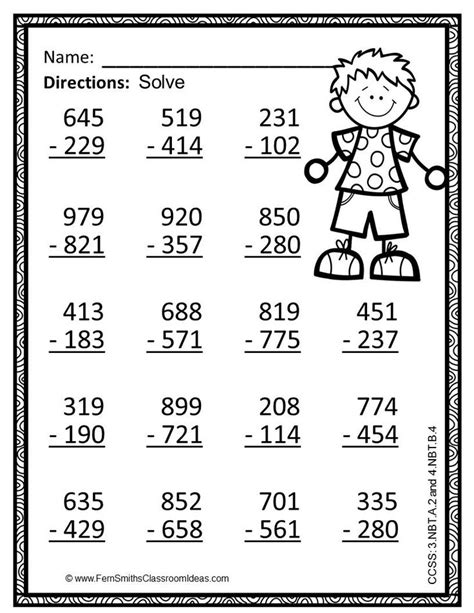 3rd grade math worksheet 3 digit subtraction 3rd grade go math 1 10 use place value to subtract color