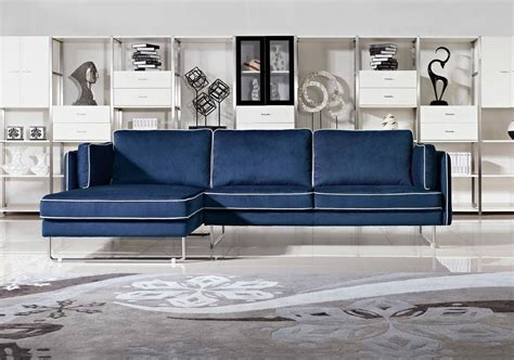 blue sectionals for contemporary blue fabric sectional sofa with white piping