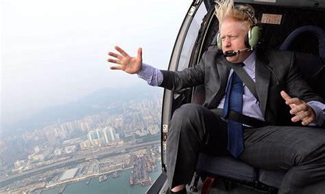 boris johnson takes dramatic helicopter flight  hong