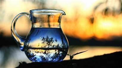 Water Glass Nature Bottles Blurred Reflection Still