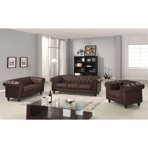 canape chesterfield marron capitonne 3 2 1 places achat