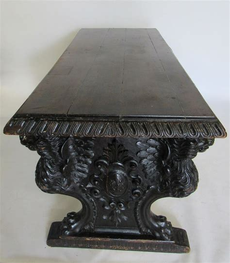 antique highly carved trestle library table sold  auction   november bidsquare