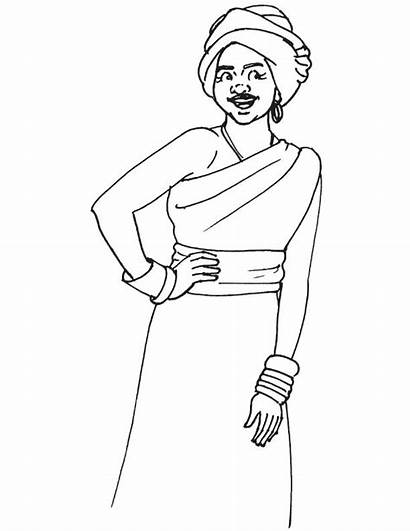 Coloring African Pages American Woman Culture Clothing