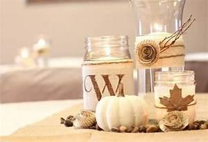 Basteln Mit Laub : herbstdeko zum basteln vasen mit leinenstoff und laub schm cken papierrosette herbst herbst ~ Buech-reservation.com Haus und Dekorationen