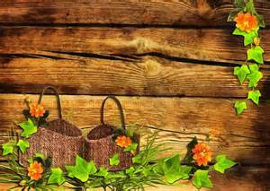 baskets wooden wall leaves