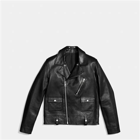 black motorbike jacket coach leather motorcycle jacket in black for men lyst