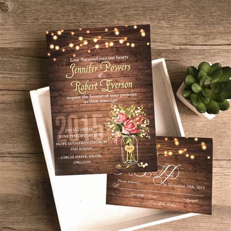 cheap rustic wedding invitations flower jar string lights rustic invitations iwi348 wedding invitations