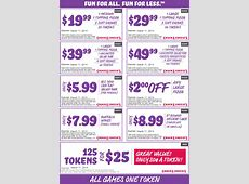 Chuck E Cheese Coupons 125 tokens for $25 and more at