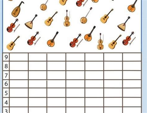 musical instruments number count worksheet for kids 3 name letter and number recognition