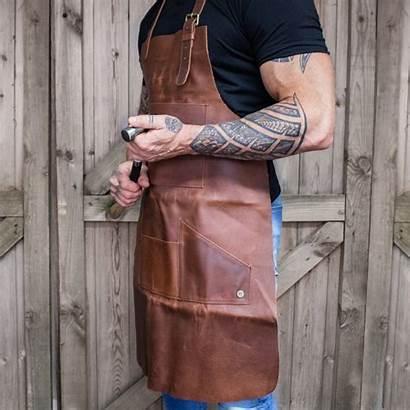 Leather Apron Pocket Multi Grain Brown Mahi