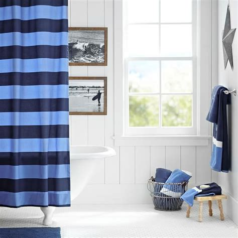 blue and white rugby stripe shower curtain curtain