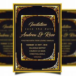Invitation Card Format For Event Wedding Invitation Card Template Psd With Golden Border