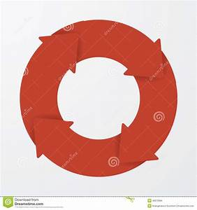 Vector Red Life Cycle Arrow Diagram  4 Steps  Stock Vector