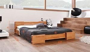 Lit Bois Massif Design : lit adulte pour 2 personnes en bois naturel design pas cher ~ Teatrodelosmanantiales.com Idées de Décoration