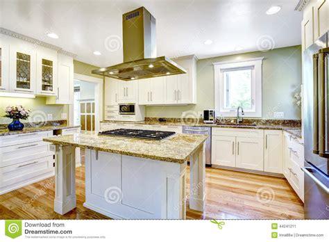 cuisine ile de île de cuisine avec le fourneau intégré le dessus de granit et le capot photo stock image