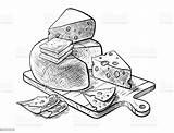 Cheese Vector Making Sketches Clip Illustration Various Types Swiss Illustrations Bw Milk Raw Christmas sketch template