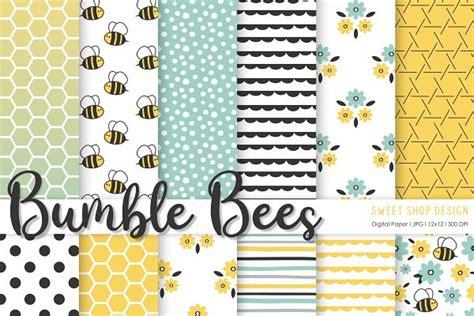 digital paper bumble bees pre designed photoshop