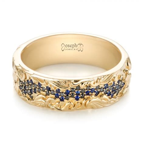 custom engraved blue sapphire  black diamond mens band