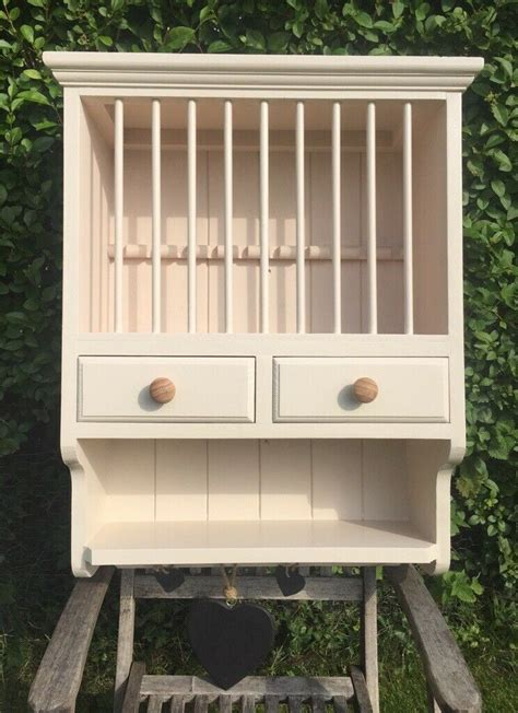 wooden wall mounted plate rack cupboard cream shabby chic country kitchen easingwold