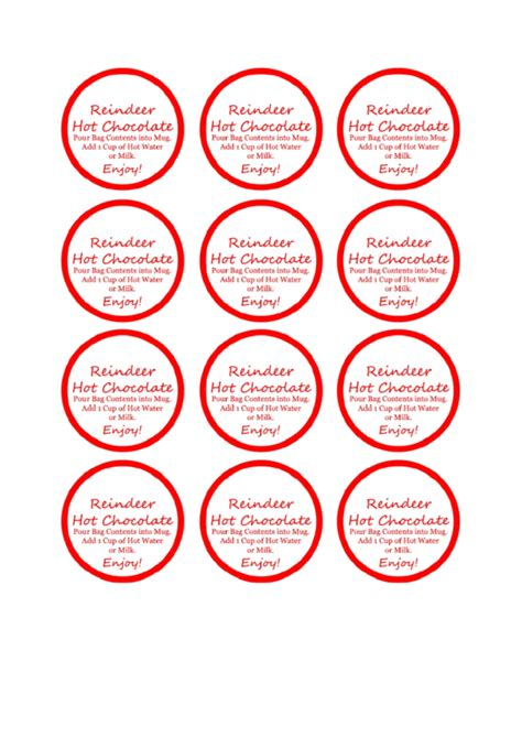 reindeer hot chocolate label template printable