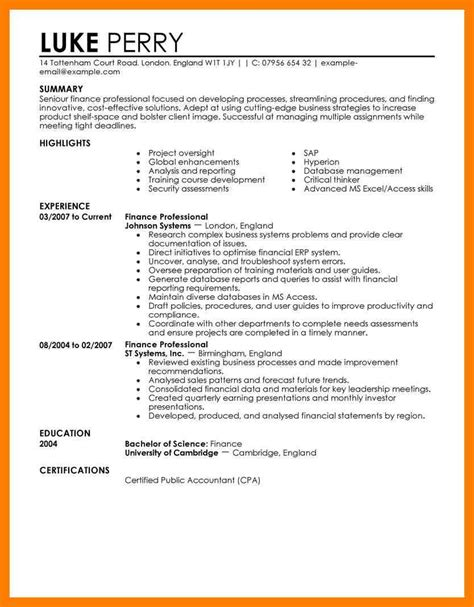 Finance Resume by 10 Sle Finance Resume By Designs