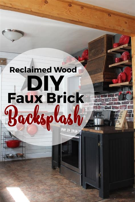 diy brick backsplash using reclaimed wood and paint
