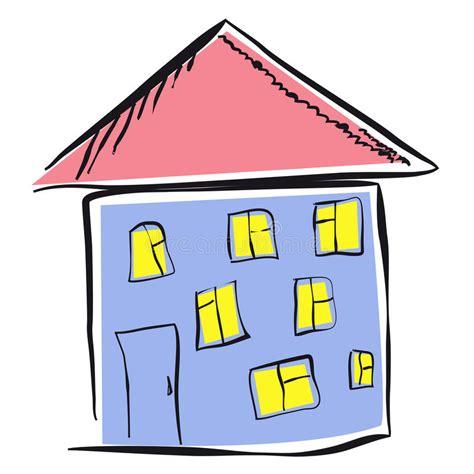 Haus Gezeichnet Vorne by Dzieciaka Rysunek Dom Ilustracji Ilustracja Złożonej Z