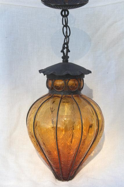 vintage wrought iron lantern pendant light fixture hanging lamp  amber glass shade