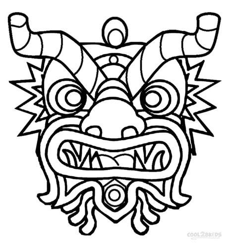 Chinese Dragon Mask Coloring Page - Democraciaejustica