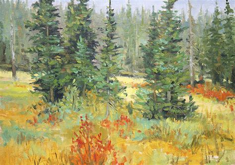september colors blue spruce   mountains artwork