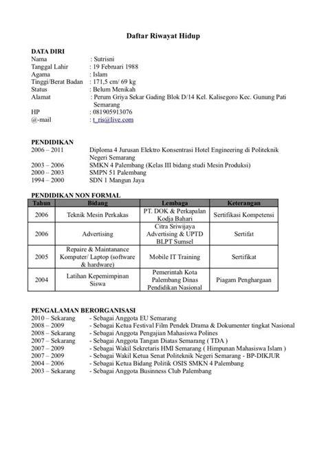 Contoh Surat Lamaran Kerja 2017 by Contoh Surat Lamaran Kerja Daftar Riwayat Hidup Cv 2017 18