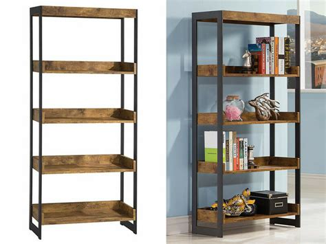 Estrella Industrial Bookcase Gunmetal Metal 4 Display