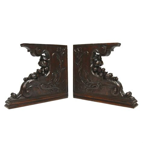Salvaged Corbels by Pair Antique Carved Oak Architectural Salvaged