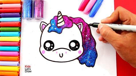 como dibujar  unicornio kawaii  brillantina