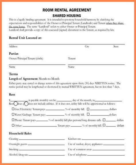 lease agreement  renting  room   house