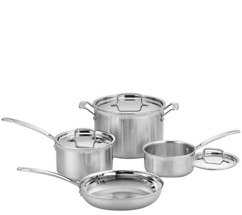 cuisinart multiclad pro triple ply  piece cookware set qvccom