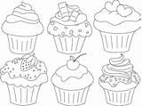 Cupcake Drawing Coloring Pages Cupcakes Template Printable Cake Clipart Macaron Colouring Muffin Painting Paper Mit Adult Kunst Clip Embroidery Ich sketch template