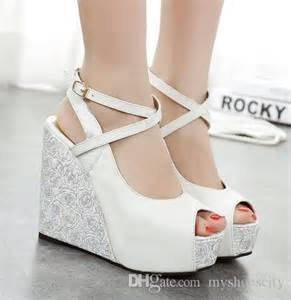 white wedding wedges shoes 2015 2016 white blue wedding shoes high heels platform wedge shoes bridal shoes size 34 to 39