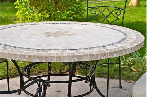 table ronde patio 49 63 quot outdoor patio table marble mosaic mexico