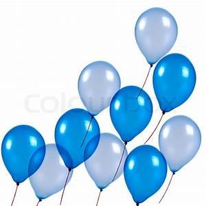 Blue balloons on white background Stock Photo Colourbox