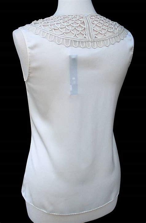 ELIE TAHARI • Ivory Silk Loop Detail SIVAN Blouse Top ...