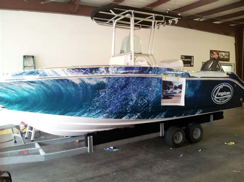 Robalo Boat Wrap by Longshore Robalo Boat Wrap In Progress By Pleasant Details