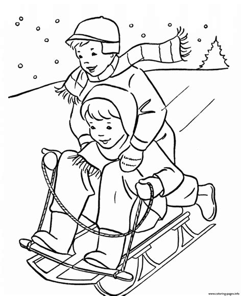 kids playing sled   winter  coloring pages printable