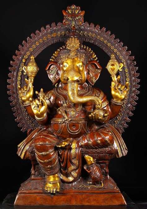preorder large brass seated ganesha statue  bs