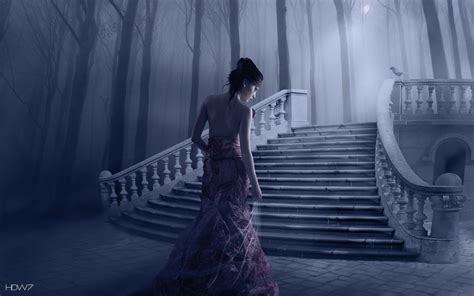 fantasy girl fog wood stairs  hd wallpaper